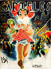 """182.Cuban Quality Design poster""""Girl w/Doll eating Cotton Candy"""" Fair.Decor"""