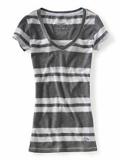 Aeropostale Girls Striped V Neck Tee Top Shirt SMALL Grey Purple Aqua Pink NWT