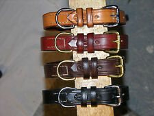 "Leather dog collar, d ring with a place for tags. 1"" wide"