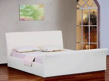 5ft King Size White Faux Leather Ottoman Storage Sleigh Bed