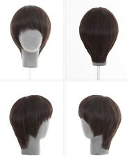 Fashion man s full wig wigs hairpiece toupee 100% pure real natural human hair