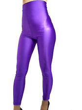 HIGH WAISTED PURPLE SHINY SPANDEX LEGGINGS XS-XXXL Tall
