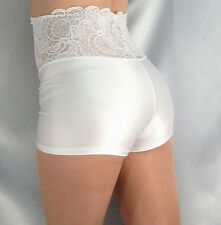 HIGH WAISTED WHITE LACE TOP SPANDEX SHORTS HOT PANTS XS-XXXL