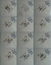 Pack of 15 BIRTHDAY Party NAPKINS Age Range 1-100 Foil Printed White Serviettes