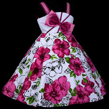 UsaG w801 Whites Magenta Flower Girls Dress Casual Summer Birthday Party 2,3-12y