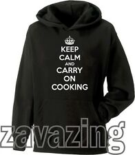 KEEP CALM AND CARRY ON COOKING UNISEX HOODIE MASTER CHEF COOK BBQ KITCHEN GIFT