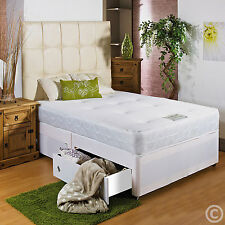 4FT SMALL DOUBLE DIVAN BED + SPRUNG MEMORY FOAM MATTRESS + HEADBOARD/DRAWERS