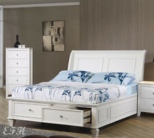 NEW SANDY BEACH COTTAGE WHITE WOOD TWO DRAWER STORAGE TWIN OR FULL SLEIGH BED