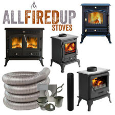 Cast Iron Wood Burning Stoves & Complete Chimney Flexible Flue Installation Kits