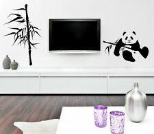 Charming inviting wall theme Panda And Bamboo composition vinyl wall stickers UK