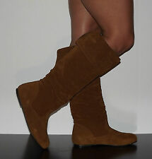 New Womens Riding Boots Slouchy Flat Faux Suede Camel Brown Sz 6-11