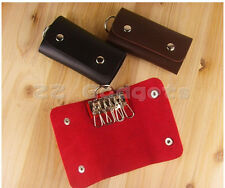 6 Key Rings PU Leather Key Case Bags Keychain Car Key Holder Wallet Cover New