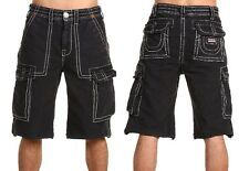NWT TRUE RELIGION BRAND JEANS MEN'S BIG T ISAAC CARGO SHORTS FADED BLACK
