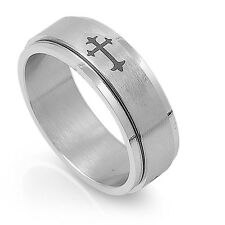 Stainless Steel Cross Spinner Ring Available in Size 7 8 9 10 11 12 13 14