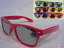 Large Wayfarer Sunglasses Mirrored Lenses Assorted Frame Colors Retro Mirror