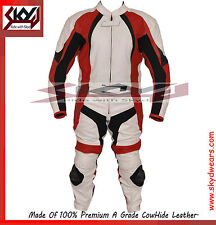 White & Red Motorcycle Racing Leather Two Piece Suit  with Hump.