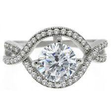 3.00 Ct 925 Silver Round White Cubic Zirconia CZ Engagement Wedding Ring