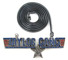 "ICED OUT TAYLOR GANG PENDANT w/ 30"" & 36"" CHAIN NECKLACE HIP HOP CZ WIZ KHALIFA"
