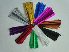 "100  x 4"" 10CM METALLIC TWIST TIES FOR CELLO BAGS CHOICE OF 11 COLOURS"