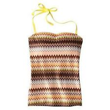 MISSONI for Target Womens Colore TANKINI Top Bikini Swimsuit Brown Blue Zig Zag