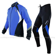 SOBIKE Cycling Suits Fleece Winter Jacket-Aurora & Fleece Tights-Cruise Blue