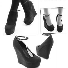 Hot Sexy Women's New Black Wedge Strappy Platform High Heel Buckle Shoes