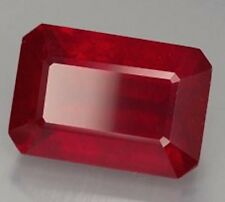 AAA Rated Octagon Faceted Bright Red Lab Created Ruby (Size 5x3mm to 18x13mm)