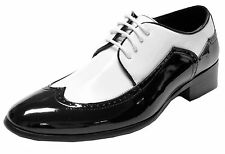 New men's shoes tuxedo black white patent PU formal dress wedding prom formal