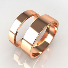 New Premium Quality His and Hers Set of Rose Gold Wedding Band Rings Hallmarked