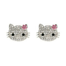 Crystal Pave Hello Kitty Head Face Pink Ribbon Silver Plated Stud Earrings