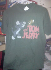 Tom & Jerry Young Mens Green Vintage T Shirt Short Sleeve