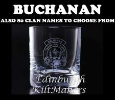 BUCHANAN CLAN CRESTED CRYSTAL WHISKEY GLASS BURNS CRYSTAL WHISKY GLASSES