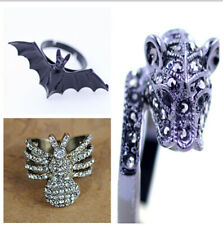 vintage punk goth biker style bat ring multiple choices