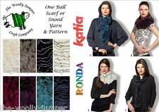 1/2 PRICE - KATIA RONDA SCARF YARN - ONE BALL SCARF OR SNOOD - FREE PATTERN
