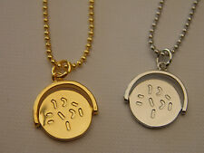 Spinning I LOVE YOU necklace mothers day valentines gold silver tone