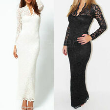 Women Sexy Floral Hollow Lace V-Neck Slim Evening Cocktail Party Maxi Long Dress