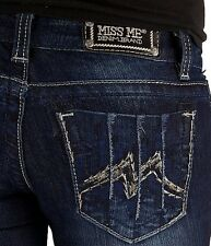 Miss Me Jeans M Logo Embroidery Big Stitch Stretch Boot Cut Blue Wash DK 167