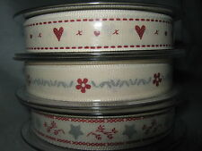 Berisfords 15mm Polyester Grosgrain Ribbon - 3 designs - choice of lengths