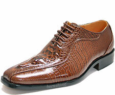 New men's shoes dress formal fashionable party croco head suede like brown