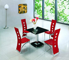 LODI SQUARE GLASS CHROME DINING ROOM TABLE & 4 CHAIRS SET- FURNITURE - IJ525-899