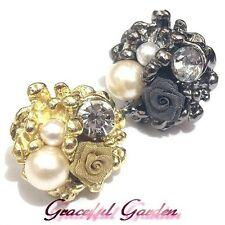 CR2096 Graceful Garden Vintage Victorian Style Rose Faux Pearl Rhinestone Ring