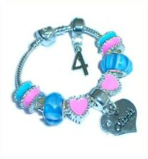 CHILDRENS/GIRLS PERSONALISED NAME/INITIAL & AGE CHARM BRACELET PINK & BLUE BOXED