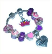 CHILDRENS/GIRLS PERSONALISED NAME or INITIAL CHARM BRACELET PINK/PURPLE HEARTS
