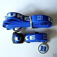 NEW DUKE BLUE DEVILS PET SET DOG COLLAR LEASH ID TAG ALL SIZES