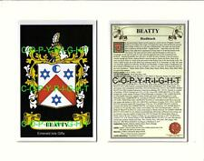 Heraldic COAT OF ARMS Crest Mount + Family History - BEAN to BERGIN