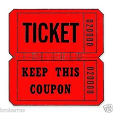 Double Roll NUMBERED RAFFLE TICKETS & KEEP THIS COUPON Red Blue Carnival Tickets