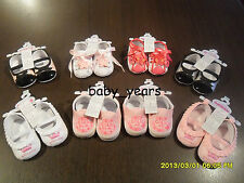 GIRLS SOFT PRAM SHOES TRAINERS PINK WHITE BABY INFANT FOOTWEAR NEW