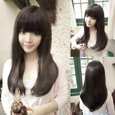 4 color Womens Girls Cute Long Straight Full Wig Hair With Bang Cosplay Party
