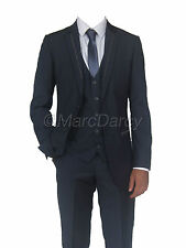 MENS 3 PIECE SLATE GREY DESIGNER SUIT IDEAL FOR WEDDINGS & SCHOOL PROMS (MACK)
