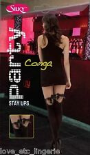 New Silky 50 Denier Party Conga Black Hold Up Stay Ups - One Size
